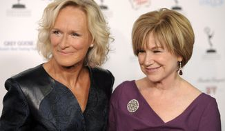 "Actresses Glenn Close (left), an Emmy nominee for outstanding lead actress in a drama series, and Mary Kay Place, nominated for an Emmy as guest actress in a drama series, pose together at the 62nd Primetime Emmy Awards performers nominee reception in West Hollywood, Calif., on Friday, Aug. 27, 2010. Miss Close and Miss Place were fellow cast members in the 1983 film ""The Big Chill."" (AP Photo/Chris Pizzello)"