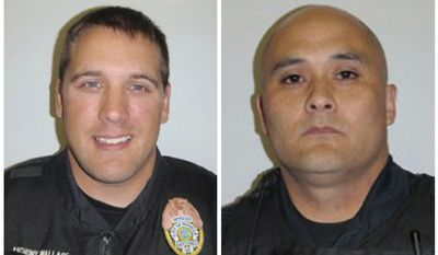 This combo made from undated photos provided by the Hoonah Police Dept. shows officer Tony Wallace, left, and officer Matt Tokuoka. Bob Prunella, acting city administrator for the village of Hoonah, said the officers died after a shooting late Saturday. (Associated Press)