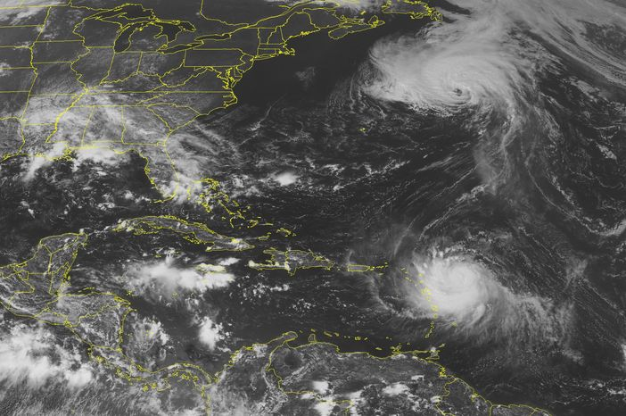 This NOAA satellite image taken Sunday, Aug. 29, 2010, at 01:45 PM EDT shows Category 1 Hurricane Danielle, located about 500 nautical miles northeast of Bermuda, moving northeastward at 23 knots. Danielle is beginning to weaken as it picks up speed in forward motion. Scattered moderate and isolated strong convective activity continues to accompany Danielle. To the south, Category 1 Hurricane Earl, centered about 165 nautical miles east of Antigua, is moving northwestward at 15 knots. Earl is forecast to strengthen over the next couple of days and could reach major hurricane status by Tuesday. Meanwhile, an area of low pressure located midway between the west coast of Africa and the Lesser Antilles has a high chance, 80 percent, of becoming a tropical cyclone during the next couple of days. (AP PHOTO/WEATHER UNDERGROUND)