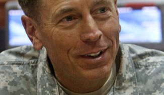 Gen. David H. Petraeus speaks to the media in his office in Kabul, Afghanistan, on Tuesday, Aug. 31, 2010.  (AP Photo/Mustafa Quraishi)