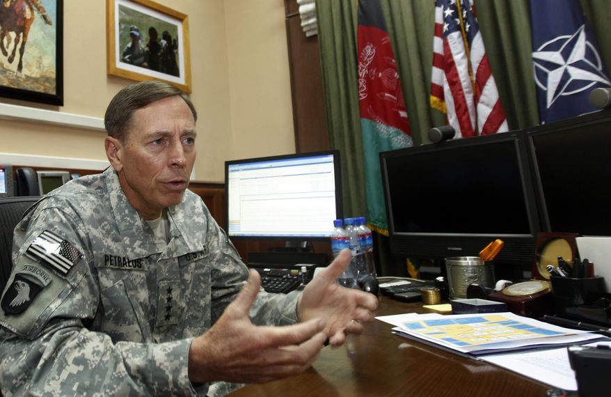 Gen. David H. Petraeus says he shares Afghan President Hamid Karzai's concern about militants hiding in Pakistan but praises Pakistan's counterinsurgency effort. (Associated Press)