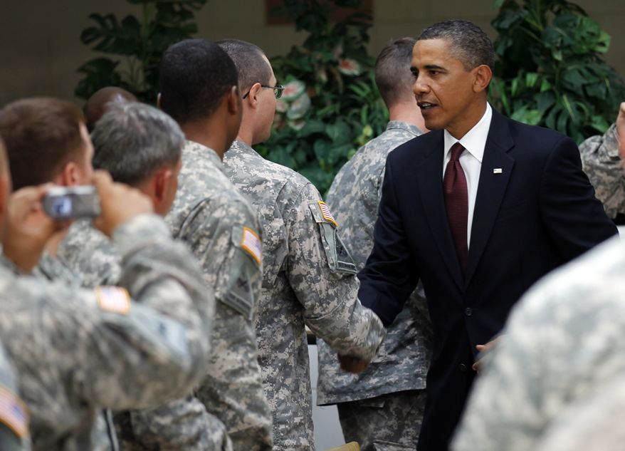 President Obama greets members of the military at Fort Bliss in El Paso, Texas, Tuesday, Aug. 31, 2010. (AP Photo/Pablo Martinez Monsivais)