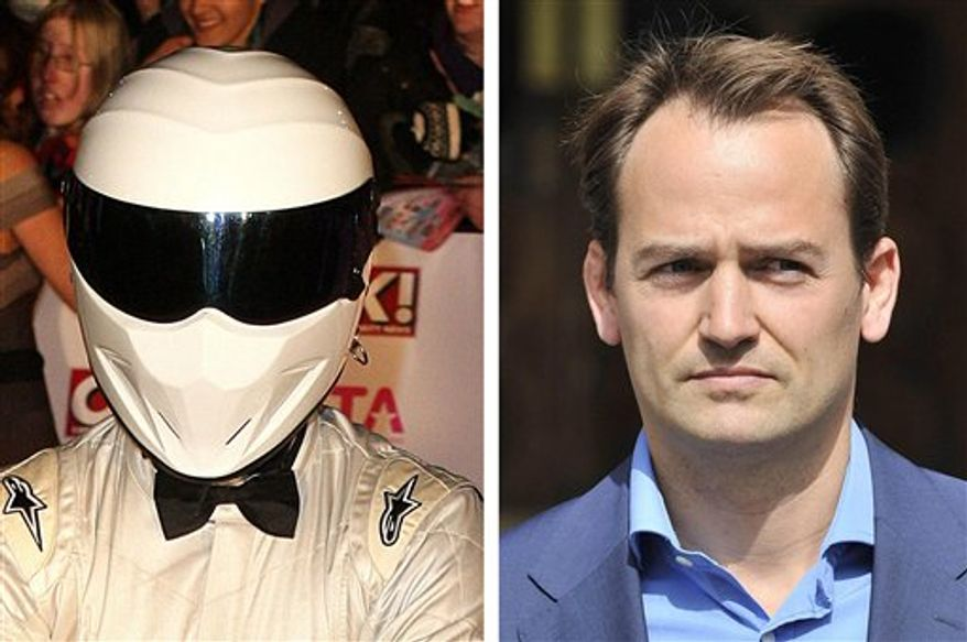 """This photo combo shows an undated file photo of the driver for the BBC motoring programme Top Gear  """"The Stig""""  left,  and Ben Collins seen at the  High Court in London Wednesday Sept. 1, 2010. The opaque visor of one of Britain's most famous helmets has been lifted. The identity of The Stig, the always-anonymous test driver on """"Top Gear,"""" the wildly popular British television show about cars, has long been kept secret. The BBC had asked Britain's High Court for an injunction blocking the publication of an autobiography revealing The Stig's identity. But lawyers for publishers HarperCollins said Wednesday it was not granted.  The publishers said in a statement that """"Ben Collins has a great story to tell about his seven years as The Stig."""" (AP Photo/ PA)"""