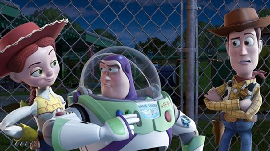 """FILE - In this undated film publicity image originally released by Disney, from left, Jessie, voiced by Joan Cusack, Buzz Lightyear, voiced by Tim Allen and Woody, voiced by Tom Hanks are shown in a scene from, """"Toy Story 3."""" (AP Photo/Disney Pixar)"""