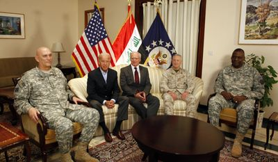 ** FILE ** Vice President Joseph R. Biden (second from left) meets in Baghdad on Monday, Aug. 30, 2010, with (from left) Gen. Raymond T. Odierno, the outgoing U.S. commander in Iraq; U.S. Ambassador to Iraq James Jeffrey; Marine Gen. James Mattis, head of U.S. Central Command; and Lt. Gen. Lloyd Austin, the incoming commander of U.S. forces in Iraq. The change of command ceremony was held Wednesday. (AP Photo/Hadi Mizban)