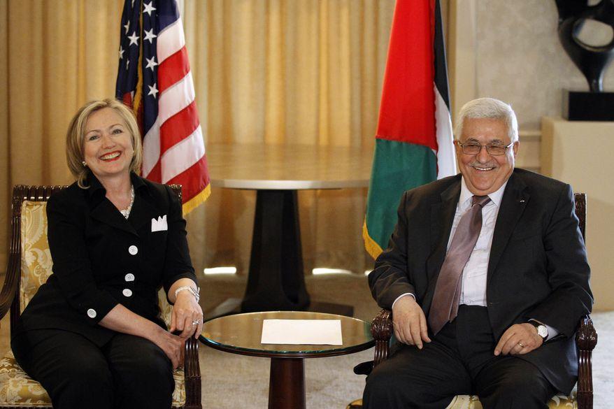 Secretary of State Hillary Rodham Clinton meets with Palestinian Authority President Mahmoud Abbas, Tuesday, Aug. 31, 2010, in Arlington, Va. (AP Photo/Alex Brandon)