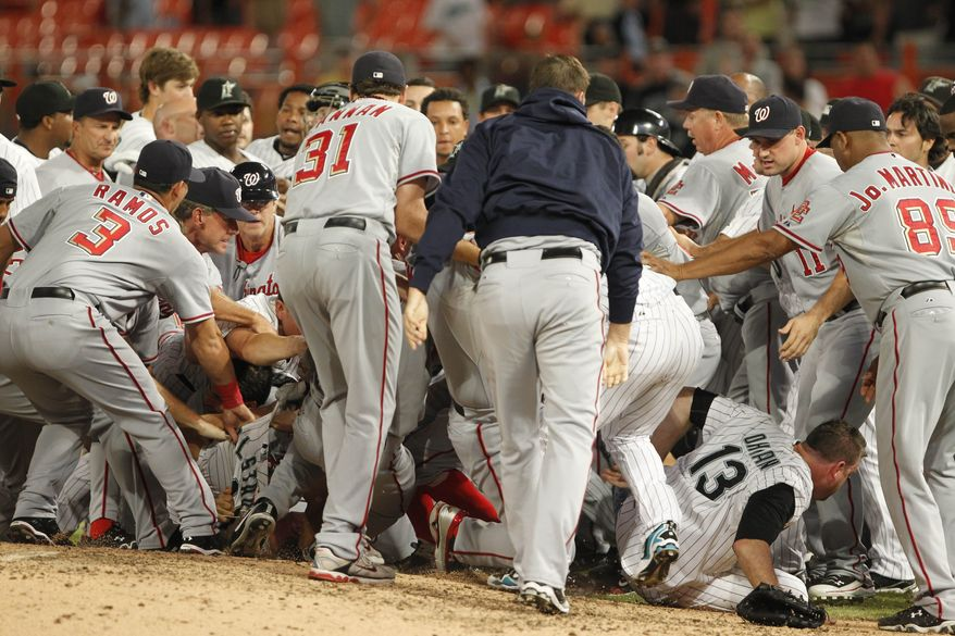 ASSOCIATED PRESS Players from the Washington Nationals and the Florida Marlins brawl during the sixth inning of a baseball game Wednesday, Sept. 1, 2010, in Miami.