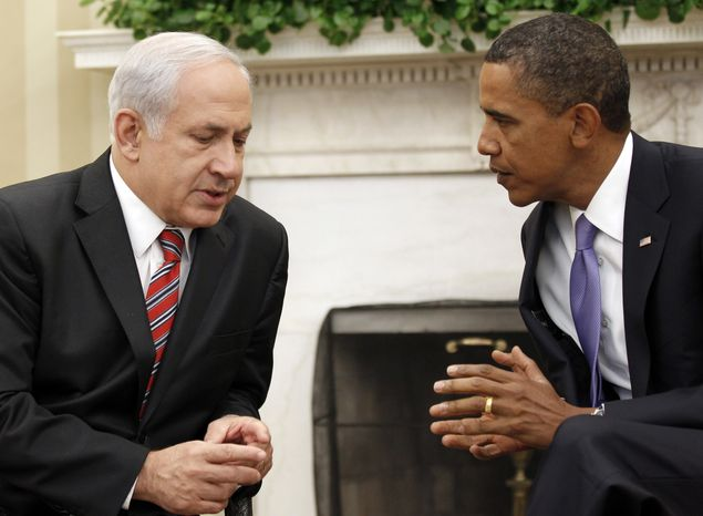 President Obama meets with Israeli Prime Minister Benjamin Netanyahu, in the Oval Office of the White House in Washington, Wednesday, Sept. 1, 2010. (AP Photo/Pablo Martinez Monsivais)