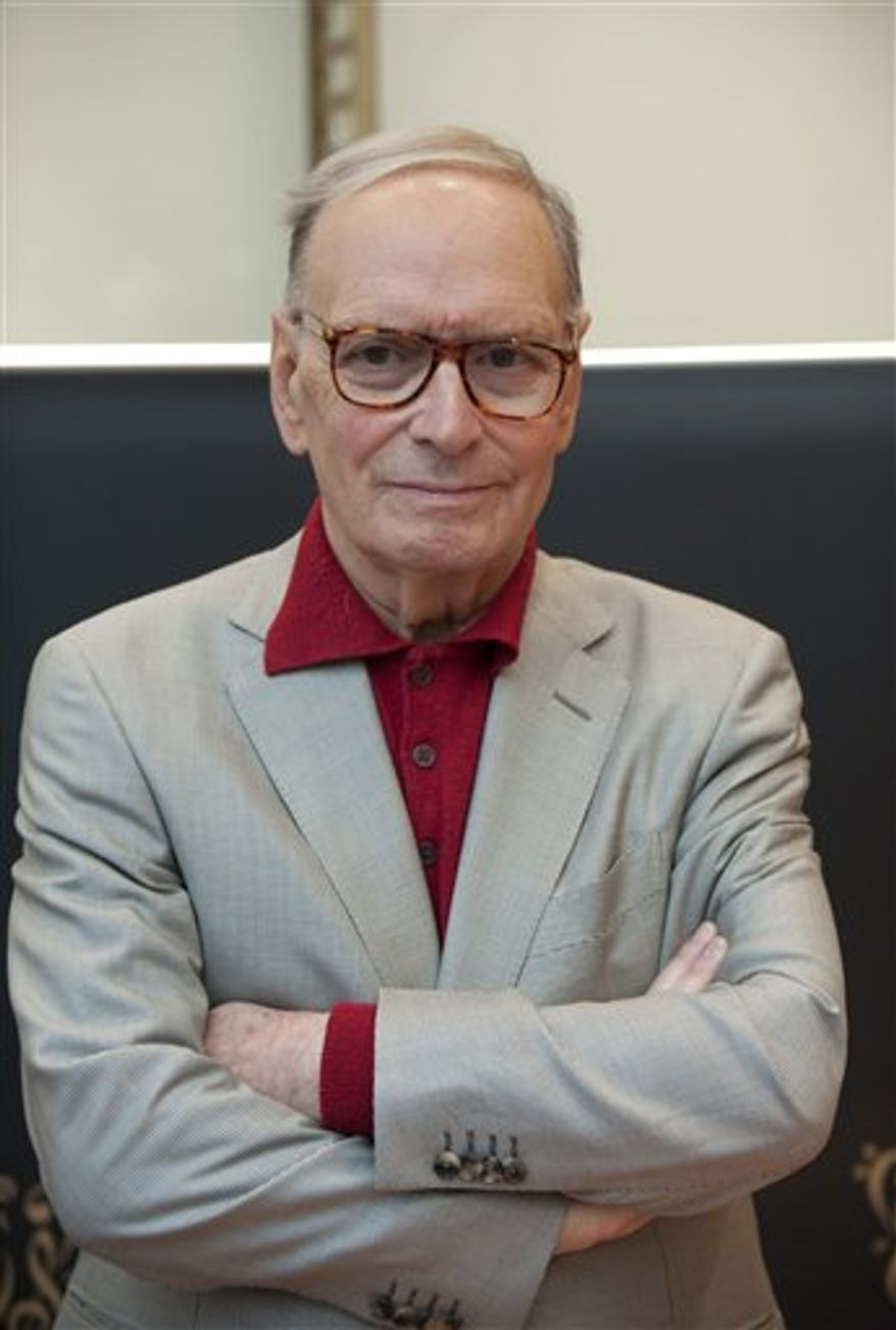 Italian composer Ennio Morricone attends the Polar Music Prize news conference, at Grand Hotel in Stockholm, Sweden, Monday, Aug. 30, 2010. (AP Photo/Fredrik Sandberg/Scanpix Sweden)