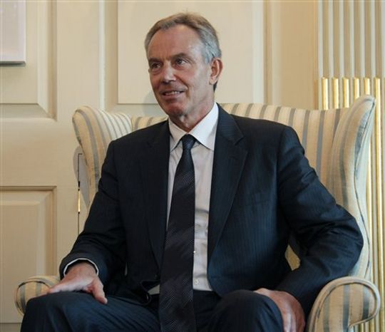 Former British Prime Minister and Middle East quartet envoy Tony Blair looks to Secretary of State Hillary Rodham Clinton, not seen, as they meet, Tuesday, Aug. 31, 2010, at the State Department in Washington. (AP Photo/Carolyn Kaster)