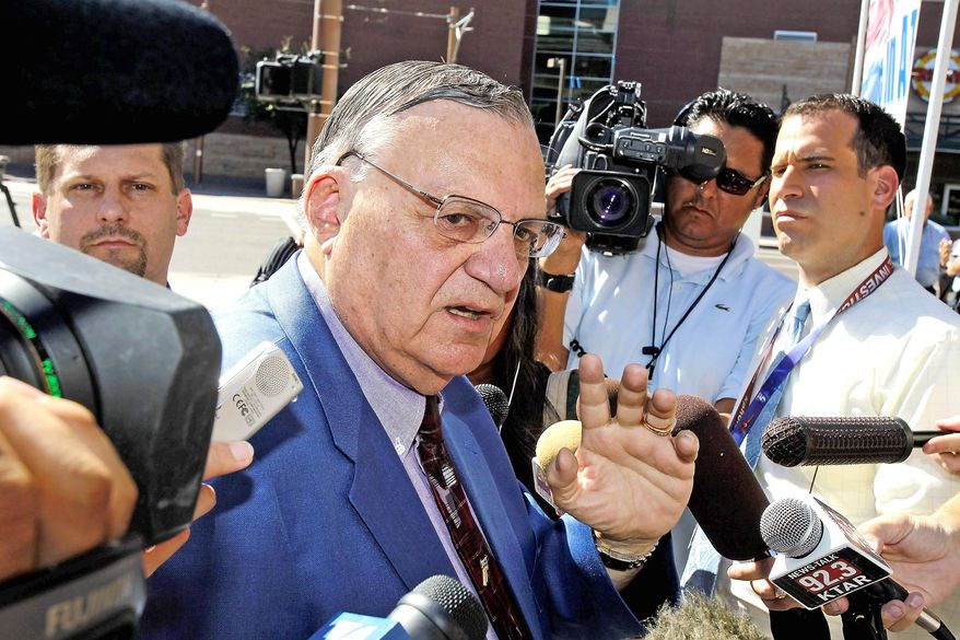 """ASSOCIATED PRESS DEFIANT: """"Now it's time to take the gloves off,"""" Maricopa County Sheriff Joe Arpaio said Thursday."""