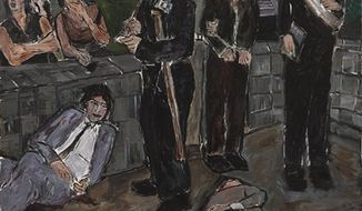 """The Incident. acrylic on canvas from the Bob Dylan exhibition The Brazil Series  at the National Gallery of Denmark,  in Copenhagen on Thursday Sept. 2, 2010.  Denmark's National Gallery is displaying 40 acrylic paintings by Bob Dylan that have never before been shown to the public. Curator Kasper Monrad says the paintings in Dylan's """"Brazil Series"""" were specifically made for the Danish exhibition, which opens Friday.  (AP Photo/POLFOTO, National Gallery of Denmark, SMK, handout)"""