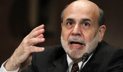 Federal Reserve Chairman Ben Bernanke testifies on Capitol Hill in Washington, Thursday, Sept. 2, 2010, before the Financial Crisis Inquiry Commission. (AP Photo/Manuel Balce Ceneta)