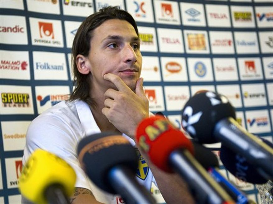 AC Milan's Swedish striker Zlatan Ibrahimovic addresses the media during a news conference after a training session with the Swedish national soccer team in Stockholm Sweden on Wednesday Sept. 1, 2010, in view of Friday's UEFA Euro 2012 group-E qualifying soccer match against Hungary in Stockholm. Ibrahimovic talked a lot about his transfer from FC Barcelona to AC Milan. (AP Photo/Claudio Bresciani/Scanpix Sweden)
