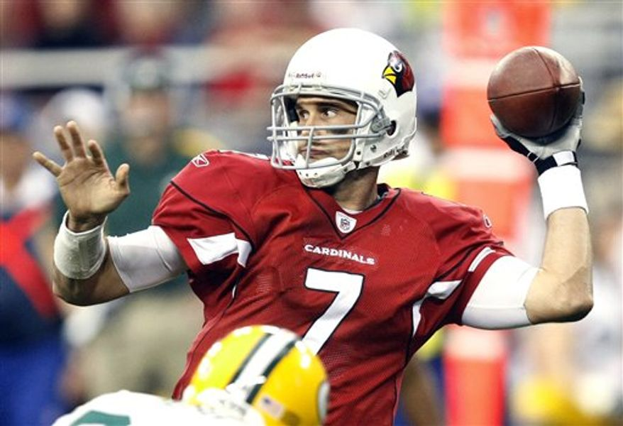 FILE - In this Aug. 14, 2010, file photo, Arizona Cardinals quarterback Matt Leinart warms up before playing an NFL pre season football game against the Houston Texans in Glendale, Ariz. The Cardinals have released Leinart, ending a rocky stint with the team that began with fanfare as he was drafted 10th overall in 2006 and ended this preseason with the former USC star taking a backseat to Derek Anderson. (AP Photo/Rick Scuteri, File)