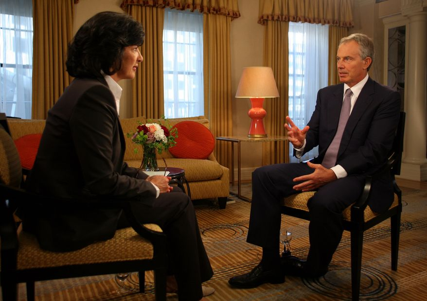 "Former British Prime Minister Tony Blair (right) talks with ABC's Christiane Amanpour for a series of exclusive interviews, his first for North American broadcast in advance of the release of his memoir, ""A Journey,"" in Washington on Wednesday, Sept. 1, 2010. (AP Photo/ABC News, Martin H. Simon)"