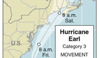Graphic shows the location and projected path of Hurricane Earl as of 2 p.m. EDT, Thursday