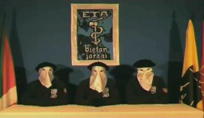 ** FILE ** In this video grab provided by the Basque separatist group ETA to the newspaper website Gara.net on Sunday, Sept. 5, 2010, three masked ETA members declare a cease-fire in their efforts to establish an independent Basque homeland in northern Spain and southwestern France. (AP Photo/Gara.net)