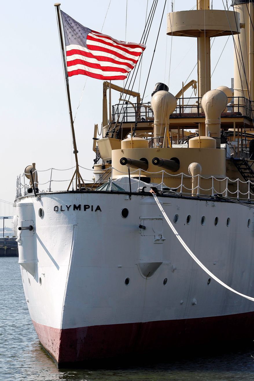 If fundraising fails, the Olympia will sink at its moorings, be sold for scrap or be turned into an artificial reef 90 miles south. (Associated Press)