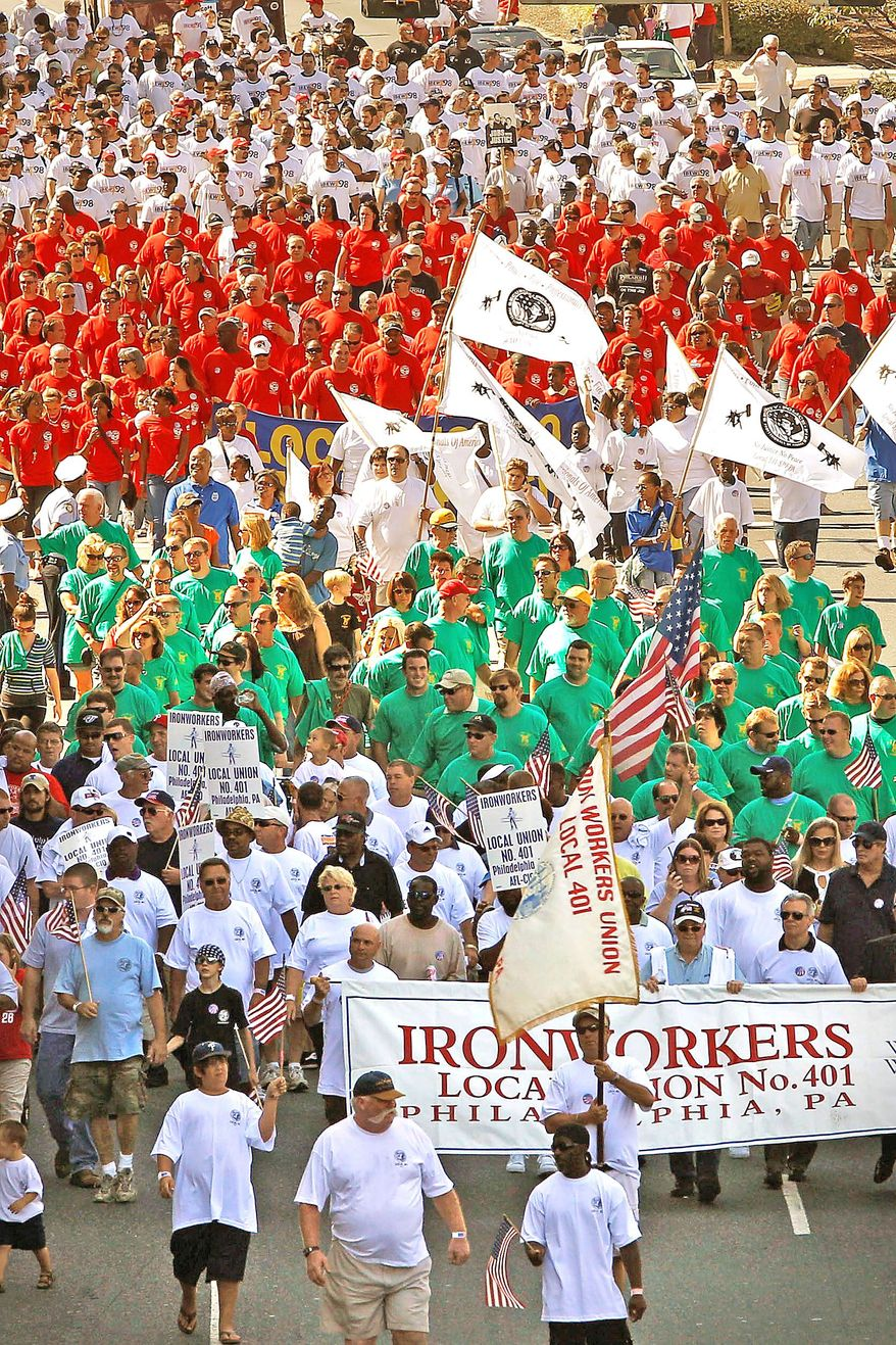 IN PHILADELPHIA: The annual Labor Day parade down Columbus Boulevard brings out union members and supporters.