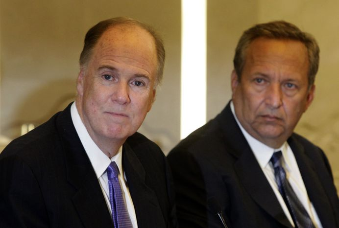 Deputy National Security Adviser Thomas Donilon (left) and National Economic Council Director Lawrence H. Summers are in Beijing to meet with Chinese leaders to steady U.S.-China relations upset by disputes over currency, trade and military affairs. (AP Photo/Ng Han Guan, Pool)