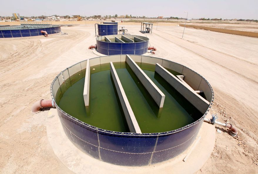 A wastewater treatment plant in Fallujah is almost finished, at a cost more than three times the original estimate and four years past the original deadline. (Associated Press)
