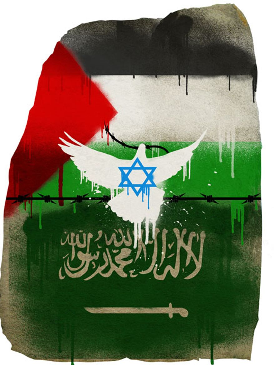 Illustration: Mid-East Peace by Linas Garsys for The Washington Times