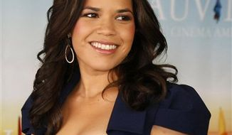 """U.S. actress America Ferrera poses for photographers during a photocall for the film """"The Dry Land"""" at the 36th American Film Festival, in Deauville, Normandy, France, Tuesday, Sept. 7, 2010. (AP Photo/Michel Spingler)"""