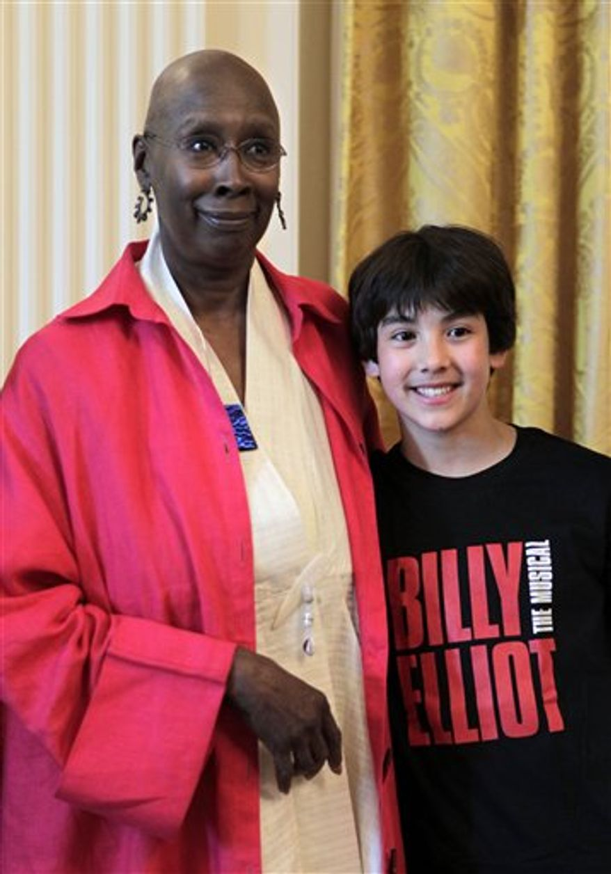 "Alex Ko, 13, of Iowa City, Iowa, the new ""Billy Elliot"" on Broadway, meets Judith Jamison, choreographer and artistic director of the Alvin Ailey American Dance Theatre, Tuesday, Sept. 7, 2010, at the White House in Washington. (AP Photo/J. Scott Applewhite)"