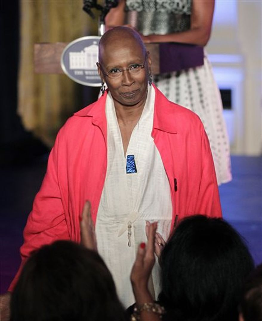 First Lady Michelle Obama hosts a tribute to renowned dancer, Judith Jamison, choreographer and artistic director of the Alvin Ailey American Dance Theatre, at the White House in Washington, Tuesday, Sept. 7, 2010. (AP Photo/J. Scott Applewhite)