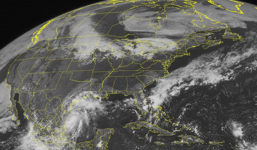 A National Oceanic and Atmospheric Administration satellite image taken on Monday, Sept. 06, 2010, at 10:45 a.m. EDT shows clouds associated with Tropical Storm Hermine spinning in the western Gulf of Mexico. (AP Photo/Weather Underground)