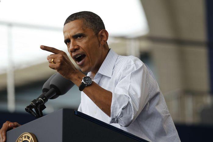 President Obama speaks on the economy at the Milwaukee Laborfest in Milwaukee on Monday, Sept. 6, 2010. (AP Photo/Pablo Martinez Monsivais)