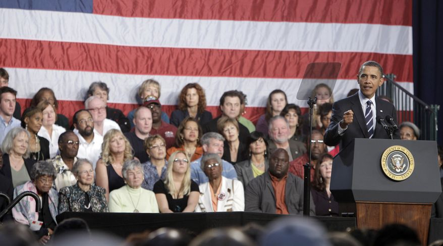 President Obama speaks Wednesday about the economy at Cuyahoga Community College in Parma, Ohio. (Associated Press)