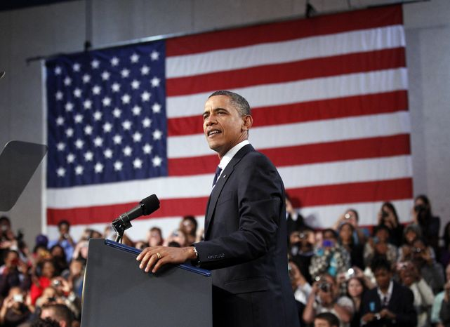 President Barack Obama delivers remarks on the economy Wednesday at the Cuyahoga Community College West Campus in Parma, Ohio. (Associated Press)
