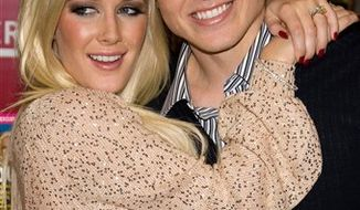 "FILE - In this Nov. 16, 2009 file photo, Heidi Montag, left, and Spencer Pratt pose at a book signing event for their book ""How To Be Famous"" at Borders Books in New York. (AP Photo/Charles Sykes, file)"