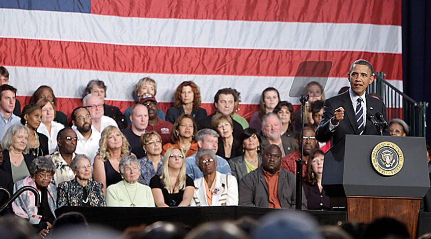 President Barack Obama speaks about the economy,Wednesday, Sept. 8, 2010, at Cuyahoga Community College in Parma, Ohio. (AP Photo/Tony Dejak)