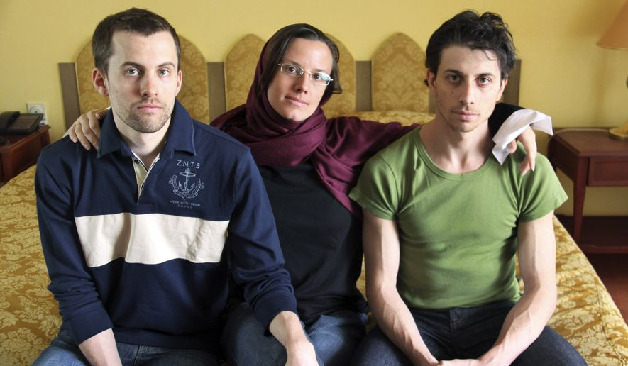 In this May 20, 2010, file photo, American hikers (from left) Shane Bauer, Sarah Shourd and Josh Fattal are pictured at the Esteghlal Hotel in Tehran. (AP Photo/Press TV, File)