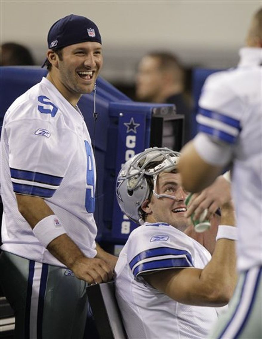 FILE - Dallas Cowboys quarterback Tony Romo (9) during a preseason NFL football game against the Miami Dolphins, in this Sept. 2, 2010 file photo taken in Arlington, Texas. Romo is 9-2 in September games since 2007, his first full season as a starting quarterback. He has won all three of his season openers. (AP Photo/LM Otero, File)