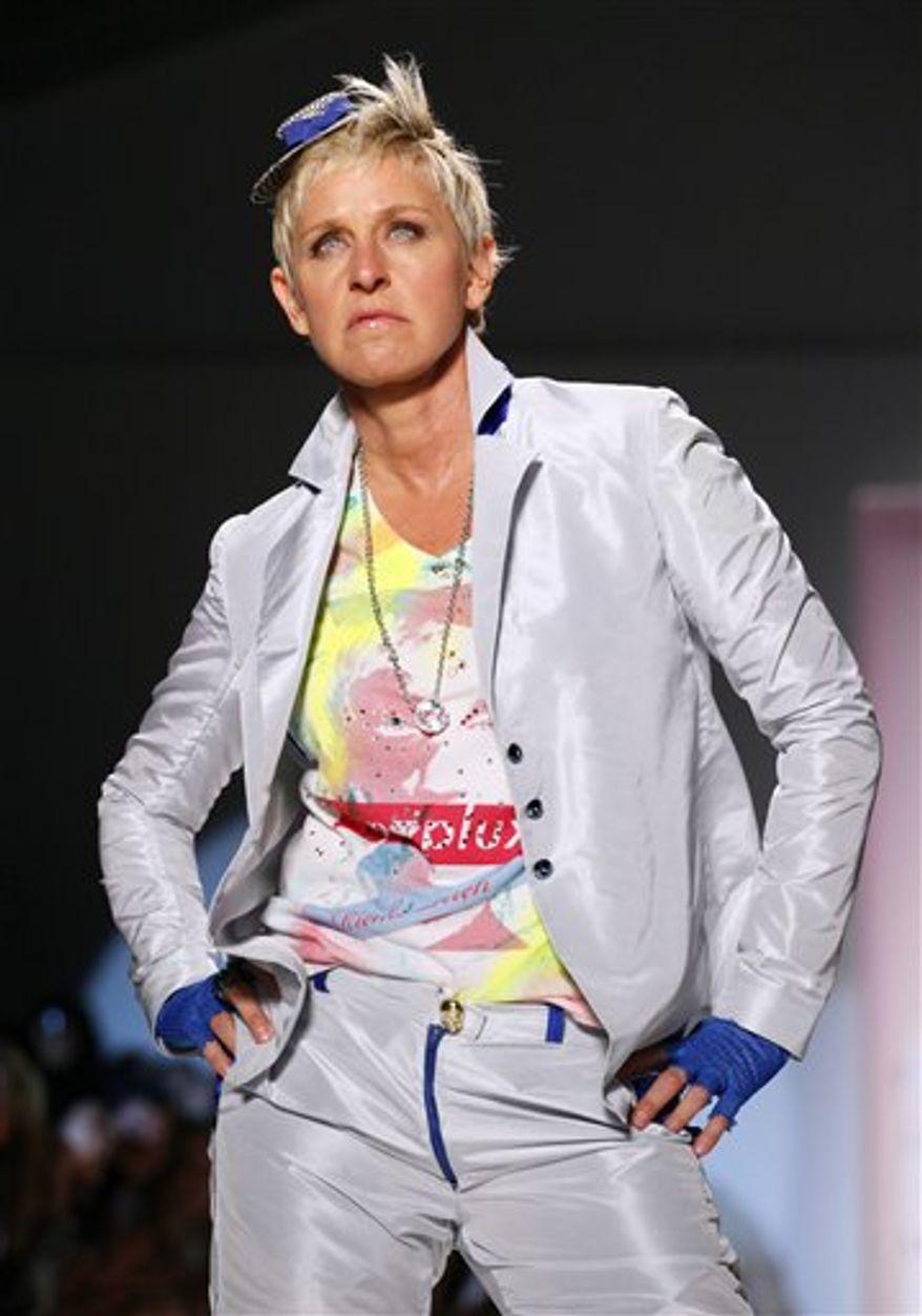 Ellen DeGeneres models in the Richie Rich spring 2011 collection, Thursday, Sept. 9, 2010, during Fashion Week in New York. (AP Photo/Mark Lennihan)