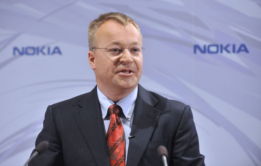 Nokia's new Chief Executive, Stephen Elop, during the press conference Friday, Sept. 10, 2010, in Espoo, Finland. Nokia Corp, said on Friday that Chief Executive Olli-Pekka Kallasvuo will be replaced by Head of Microsoft's Business Division Stephen Elop on Sept, 21. (AP Photo/Lehtikuva, Markku Ulander)