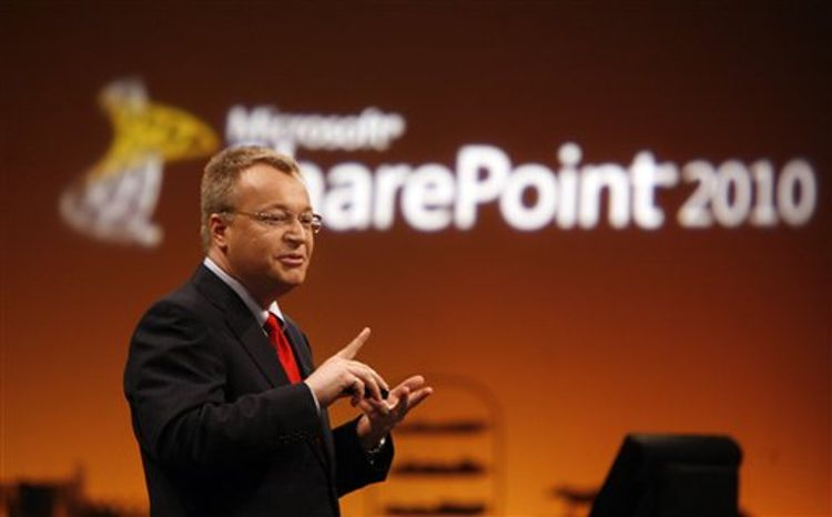 FILE - In this May 12, 2010 file photo provided by Microsoft, Stephen Elop, President of Microsoft Business Division, launches Office 2010 and SharePoint 2010 at an event in New York. Nokia said Friday Sept. 10, 2010 that Elop will replace their CEO Olli-Pekka Kallasvuo on Sept.21. (AP Photo/Microsoft, Jason DeCrow/file) -- NO SALES --