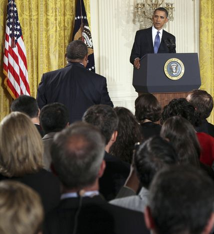 President Barack Obama listens to a reporter's question during a news conference in the East Room of the White House in Washington, Friday, Sept. 10, 2010. (AP Photo/Charles Dharapak)