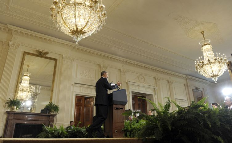President Barack Obama gestures during a news conference in the East Room of the White House in Washington, Friday, Sept. 10, 2010. (AP Photo/Susan Walsh)