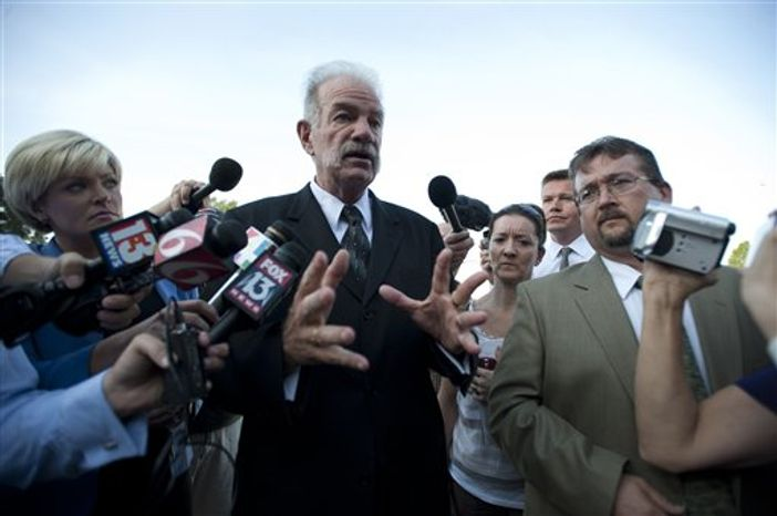 ** FILE ** The Rev. Terry Jones, pastor of the Dove World Outreach Center, speaks to the media on Friday, Sept. 10, 2010, in Gainesville, Fla. (AP Photo/Phil Sandlin)
