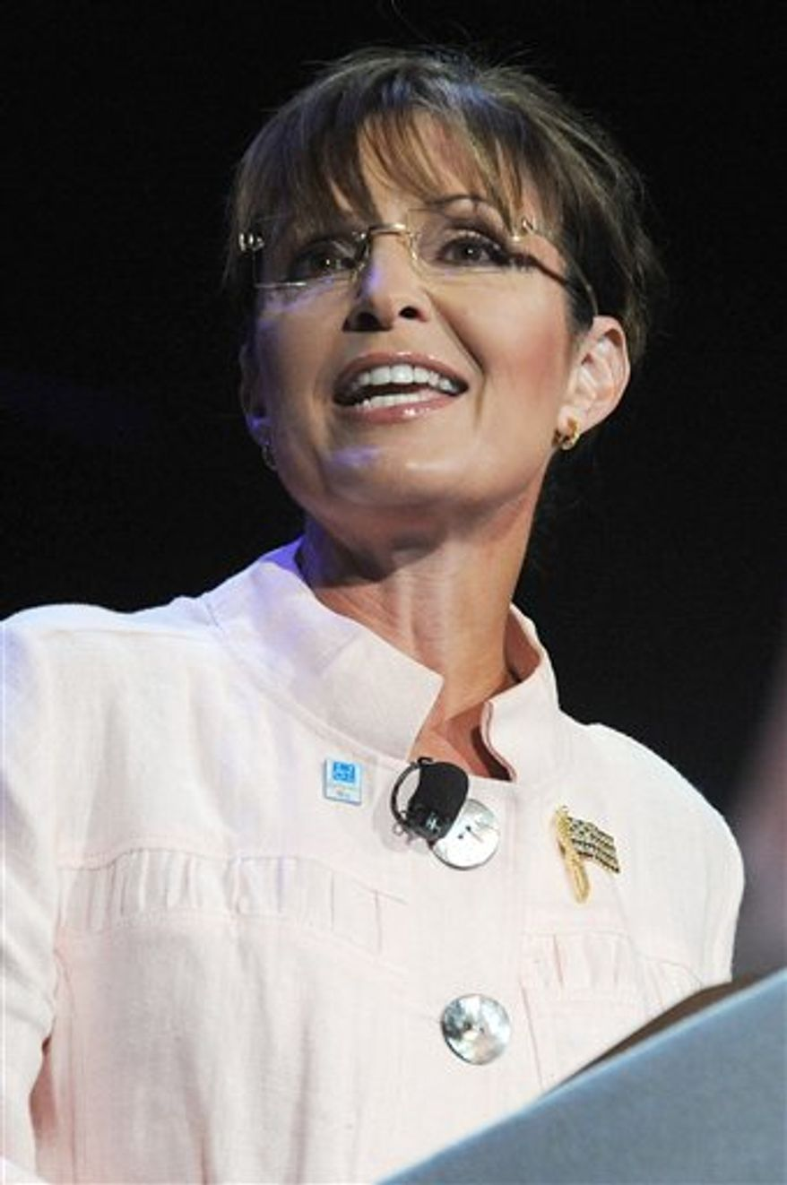 "FILE - In this June 29, 2010 file photo, former Alaska Gov. Sarah Palin speaks to the crowd at the P.U.R.E. Ministries in Duluth, Ga. It's not a real word, but that hasn't stopped ""refudiate"" from becoming Merriam-Webster's 2010 ""Word of the Summer.""  The publishing company says Sarah Palin's pseudo-word was the most-often searched by users of its online dictionary, The Associated Press reports on Tuesday, Sept. 7, 2010. The former Alaska governor used it twice in July: once on a news show and later on Twitter, in place of refute or repudiate. (AP Photo/Erik S. Lesser, File)"