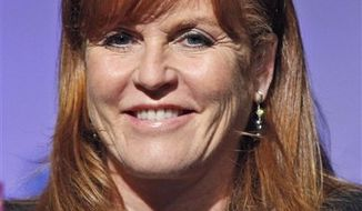 FILE - In this May 26, 2010 file photo, Sarah Ferguson, Duchess of York, speaks at the Book Expo America in New York.  (AP Photo/Seth Wenig, file)