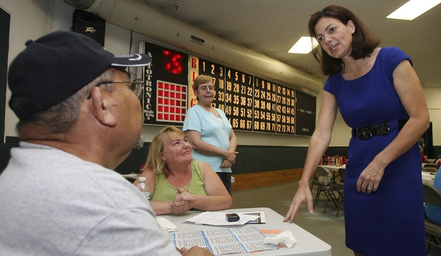 New Hampshire Republican Senate hopeful Kelly Ayotte greets Bingo players in Manchester, N.H., in this photo taken on Wednesday, Sept. 8, 2010. (AP Photo/Jim Cole)