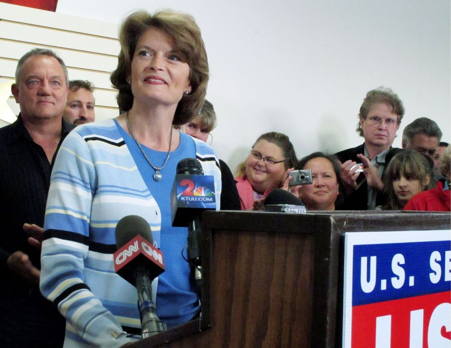 Sen. Lisa Murkowski reportedly will make an announcement about a write-in campaign, after losing the Republican primary and an offer by the Libertarian Party nominee to be on the November ballot. (Associated Press)