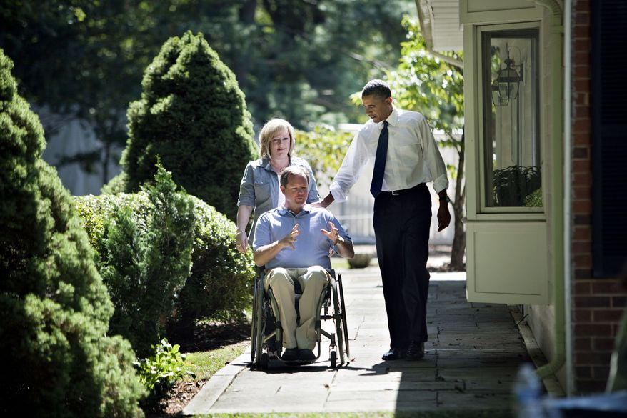 ASSOCIATED PRESS President Obama talks with John Nicholas and Nicole Armstrong at their Fairfax, Va., home, where he discussed the economy. The couple's retirement and children's college savings have declined.