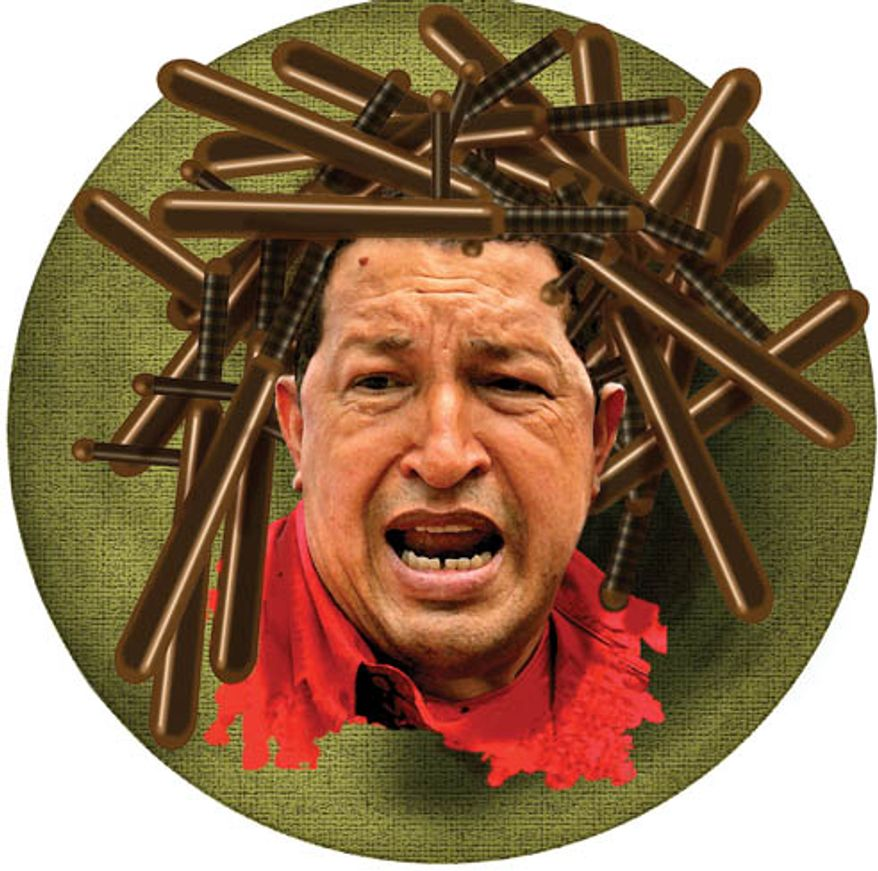 Illustration: Hugo Chavez by Alexander Hunter for The Washington Times